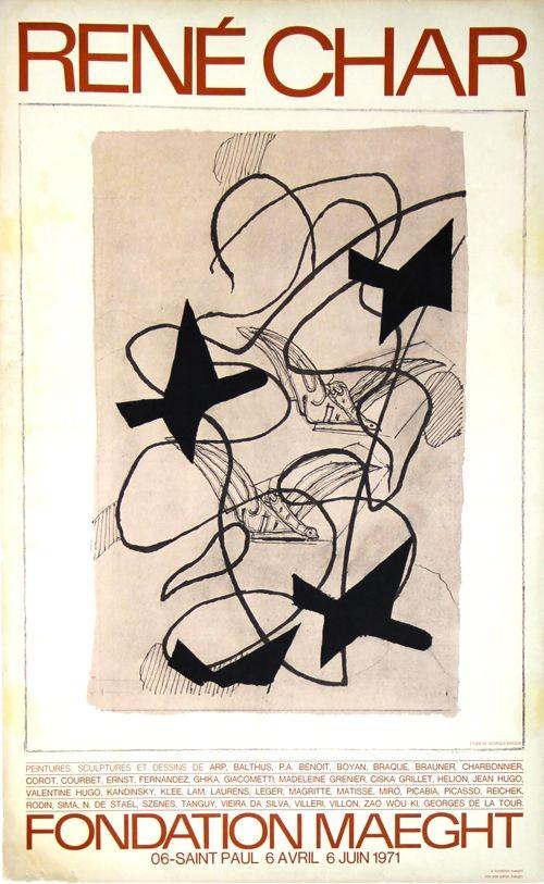 Litografia Braque - René  Char  Exposition Fondation Maeght