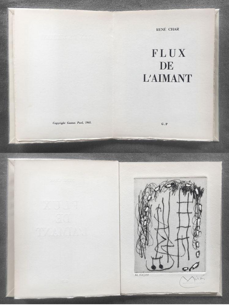 Libro Illustrato Miró - René Char : FLUX DE L'AIMANT. Gravure de Joan Miró.
