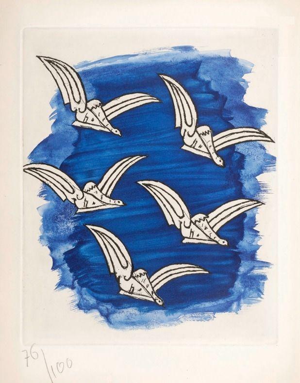 Libro Illustrato Braque - René Char : LA BIBLIOTHÈQUE EST EN FEU. Avec une gravure originale de Georges Braque. 1956.