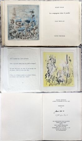 Libro Illustrato Zao - René Char : LES COMPAGNONS DANS LE JARDIN. 4 gravures originales en couleurs (1957)