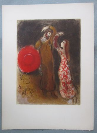 Litografia Chagall - Rencontre de Ruth et de Booz, Meeting of Ruth and Boaz