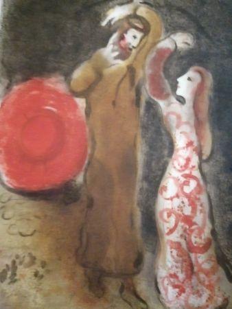Litografia Chagall - Rencontre entre Ruth et Booz
