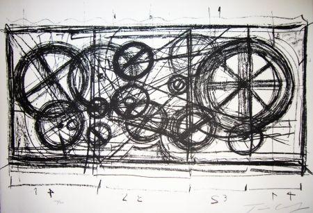 Litografia Tinguely -  Requiem pour une feuille morte