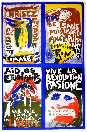 Litografia Jorn - (Revolution plakat)