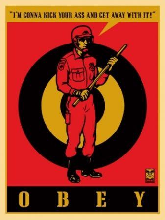 Serigrafia Fairey - Riot Cop, Large Format