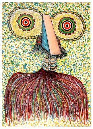 Litografia Baj - Ritratto immaginario di Asger Jorn (Portrait imaginaire d'Asger Jorn)