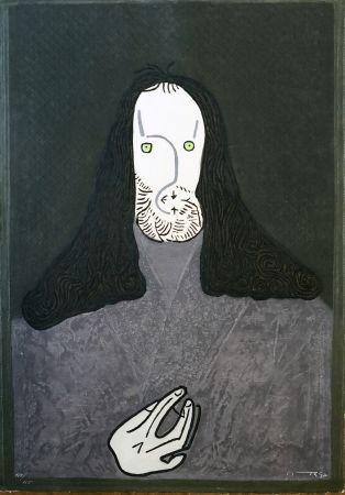 Acquaforte Ortega - Ritratto mistico di monaco