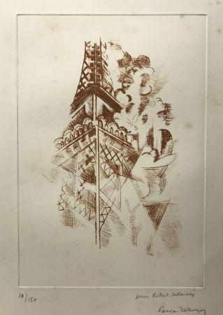 Acquaforte Delaunay - Robert Delaunay (1885-1941)  Tour Eiffel. Eau-forte signée.