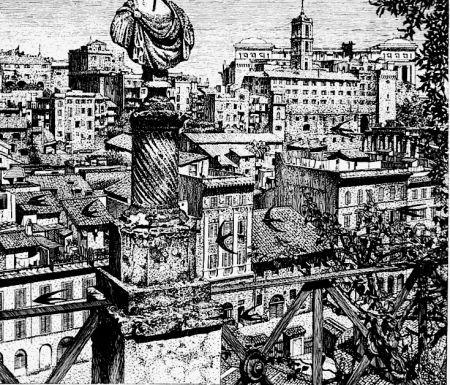 Acquaforte Disertori - Roma. Veduta del monte Capitolino dagli orti Farnesiani