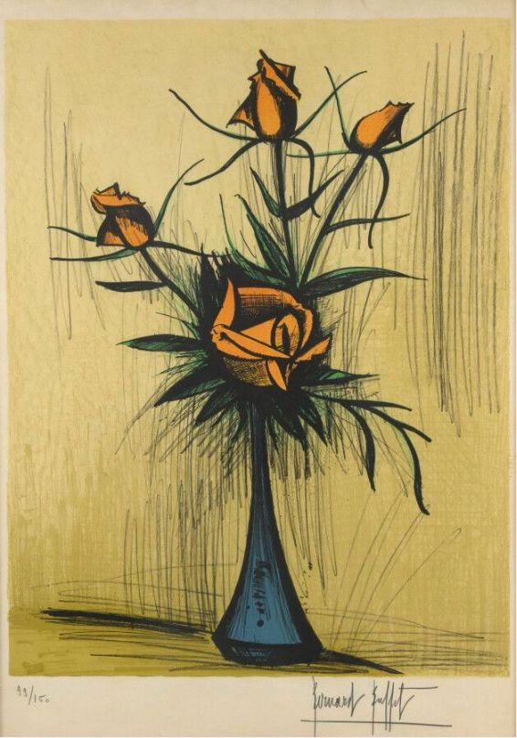 Non Tecnico Buffet - Roses dans un vase bleu. 1979.