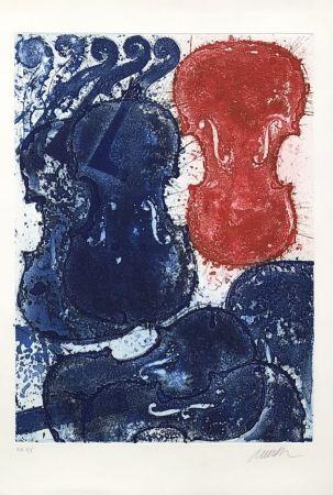 Incisione Arman - Rouge et bleu