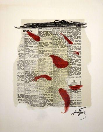 Litografia Tàpies - Rouge sur papier journal