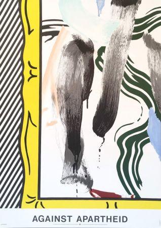 Litografia Lichtenstein - Roy Lichtenstein 'Against Apartheid' 1983 Original Pop Art Poster