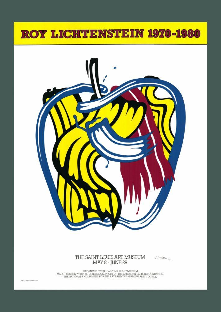 Serigrafia Lichtenstein - Roy Lichtenstein 'Apple' 1981 Hand Signed Original Pop Art Poster