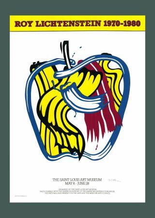 Serigrafia Lichtenstein - Roy Lichtenstein 'Apple' 1981 Hand Signed Original Pop Art Poster with COA