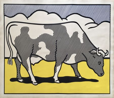 Serigrafia Lichtenstein - Roy Lichtenstein 'Cow Going Abstract' 1982 Hand Signed Original Pop Art Diptych Poster Set