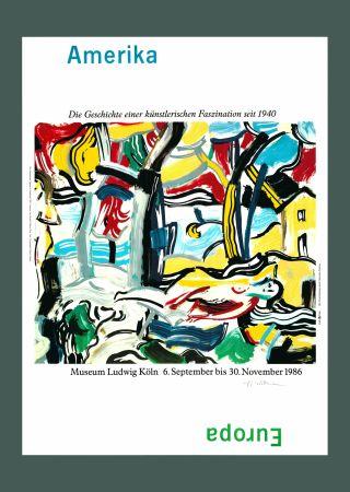 Litografia Lichtenstein - Roy Lichtenstein 'Figures in Landscape (Amerika/Europa)', Original Pop Art Poster, Hand Signed, 1986