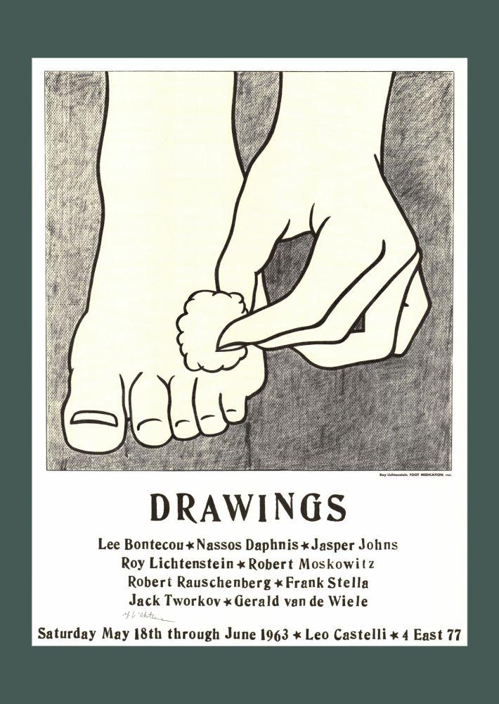 Litografia Lichtenstein - Roy Lichtenstein 'Foot Medication (Castelli Mailer)', 1963 Hand Signed Original Pop Art Poster