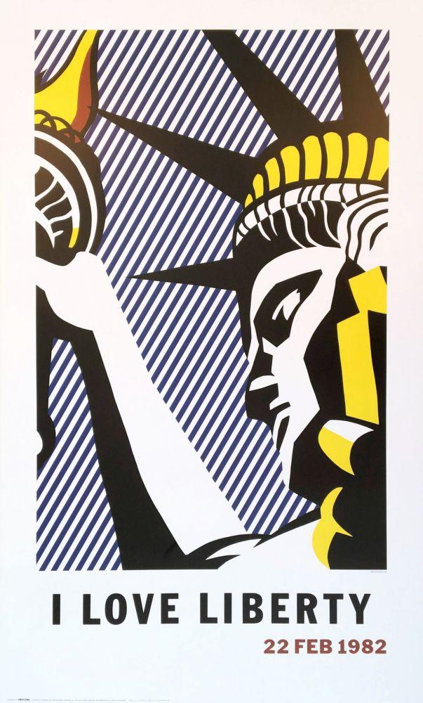 Litografia Lichtenstein - Roy Lichtenstein 'I Love Liberty' 1982 riginal Pop Art Poster