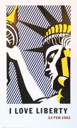 Litografia Lichtenstein - Roy Lichtenstein 'I Love Liberty' 1982 riginal Pop Art Poster with COA