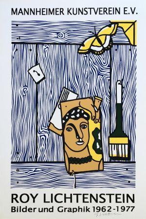Litografia Lichtenstein - Roy Lichtenstein 'Léger Head with Paintbrush' 1977 Hand Signed Original Pop Art Poster with COA