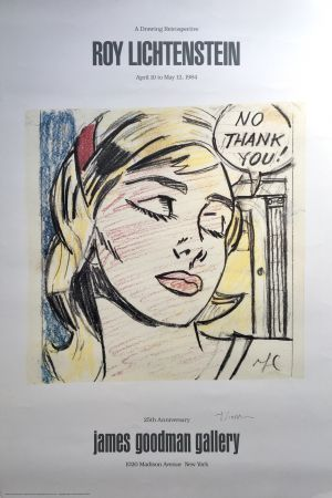 Litografia Lichtenstein - Roy Lichtenstein 'No Thank You!' 1984 Hand Signed Original Pop Art Poster