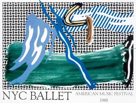 Litografia Lichtenstein - Roy Lichtenstein 'NYC Ballet' 1988 Original Pop Art Poster