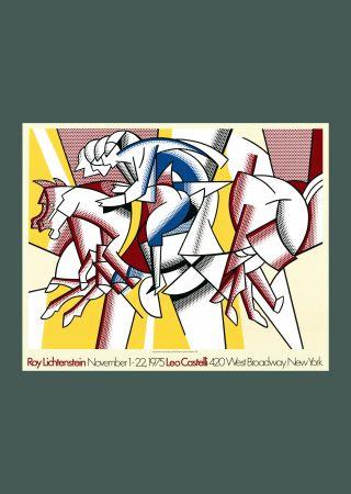 Litografia Lichtenstein - Roy Lichtenstein 'Red Horseman' 1975 Original Pop Art Poster