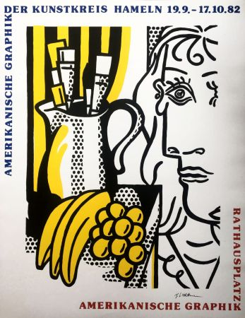 Serigrafia Lichtenstein - Roy Lichtenstein 'Still Life With Picasso' 1982 Hand Signed Original Pop Art Poster