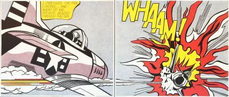 Litografia Lichtenstein - Roy Lichtenstein 'WHAAM!' 1986 Original Pop Art Diptych Poster Set