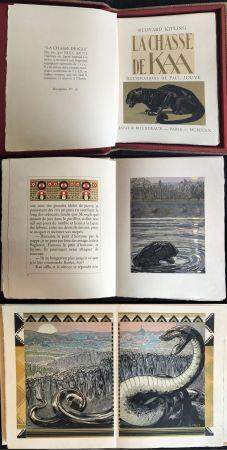 Libro Illustrato Jouve - Rudyard Kipling : LA CHASSE DE KAA. Illustrations de Paul Jouve (1930)