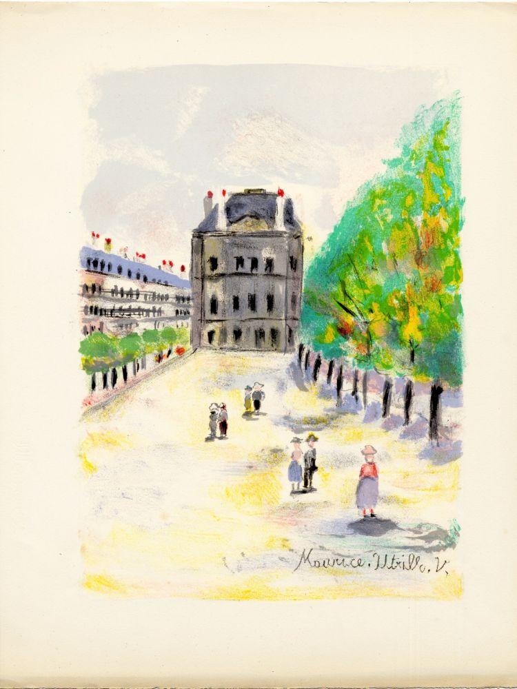 Litografia Utrillo - RUE DE RIVOLI. (Pavillon de Marsan). Épreuve pour Maurice Utrillo (Paris, 1955)