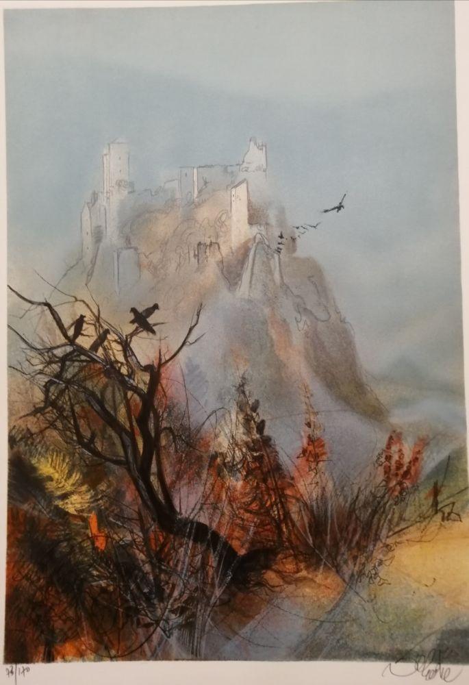 Litografia Valadie - Ruines de Merle - Limousin