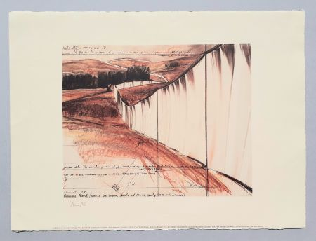 Litografia Christo - Running fence, project for Sonoma county and Marin county
