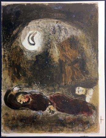 Litografia Chagall - RUTH AUX PIEDS DE BOOZ. Lithographie originale pour la Bible, 1960.