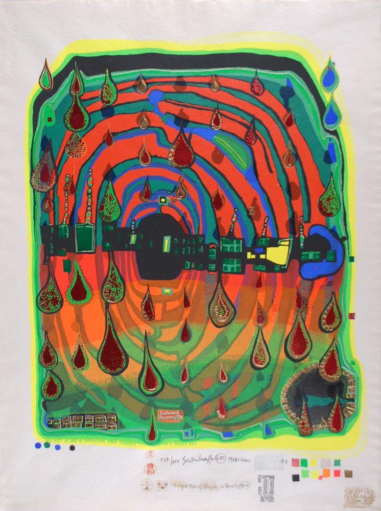Serigrafia Hundertwasser - Sad not so sad is rainshine from Rainday on a rany day