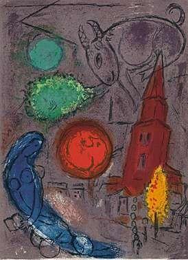 Litografia Chagall - Saint-Germain-des-Prés