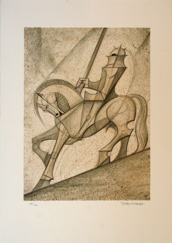 Litografia Subirachs - Sant Jordi
