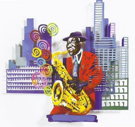Serigrafia Gerstein - Saxophone Player, from Jazz and the City Series