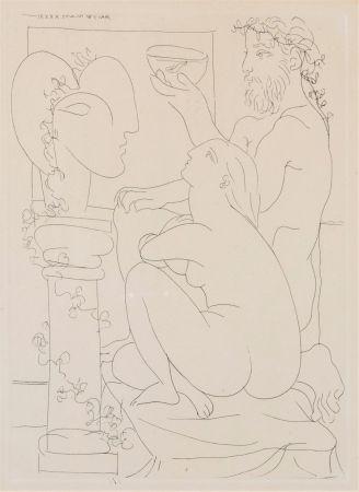 Acquaforte Picasso - Sculteur avec couple et modele accroupì.