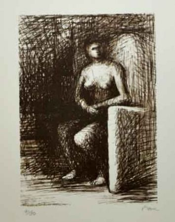 Litografia Moore - SEATED FIGURE III DARK ROOM