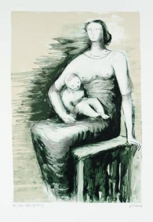 Litografia Moore - Seated Mother & Child