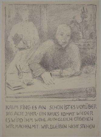 Litografia Amiet - Selbstbildnis am Zeichentisch mit Frau