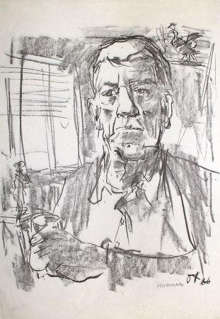 Litografia Kokoschka - Selbstbildnis mit Statuette