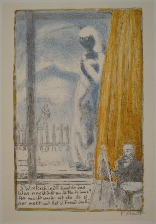 Litografia Amiet - Selbstbildnis vor der Staffelei (Winterbild)