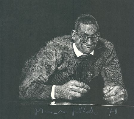 Linoincisione Grützke - Selbstportrait II