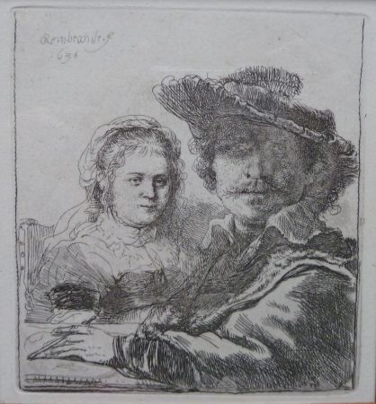 Incisione Rembrandt - Self-portait with his wife Saskia.