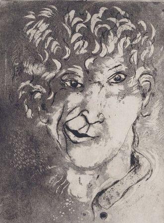 Acquaforte E Acquatinta Chagall - Self-Portrait With Grimace