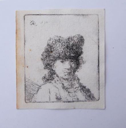 Incisione Rembrandt - Self portrait in fur cap:bust
