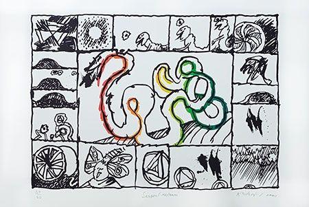 Litografia Alechinsky - Serpent restauré